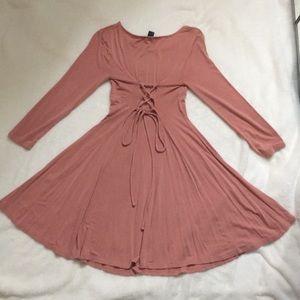 NWOT Dress w laced up back